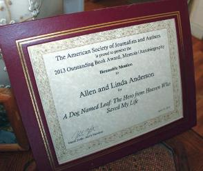 ASJA Award for A DOG NAMED LEAF